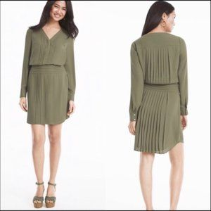 White House Black Market Pintuck Olive dress 8